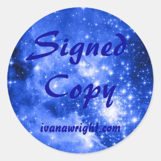 群青色青の星によって署名されるコピー ラウンドシール