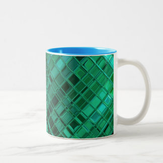 羨望緑パターンモザイク・タイルの芸術 ツートーンマグカップ