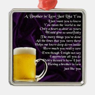 義理の兄弟の詩-ビールデザイン メタルオーナメント