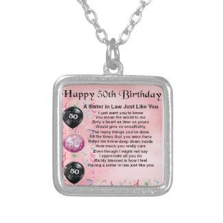 義理の姉妹の詩-第50誕生日 シルバープレートネックレス