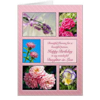 義理の娘、美しい花のバースデー・カード カード