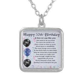 義理の息子の詩-第50誕生日のデザイン シルバープレートネックレス