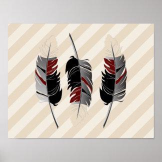 羽およびストライプなクリーム、あずき色、灰色及び黒 ポスター