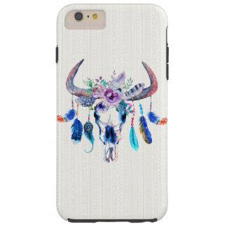 羽および紫色の花が付いているバッファローのスカル TOUGH iPhone 6 PLUS ケース