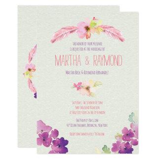 羽および花の結婚式招待状 カード