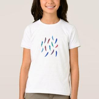 羽が付いている女の子の基本的なTシャツ Tシャツ