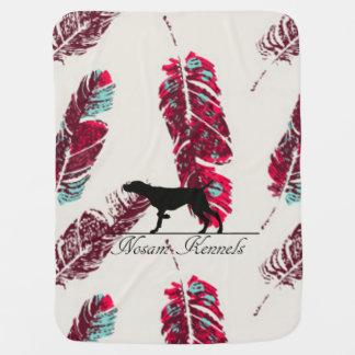 羽のパターン(の模様が)あるな子犬毛布 ベビー ブランケット