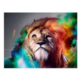 羽の宇宙の宇宙を調べているカラフルなライオン はがき