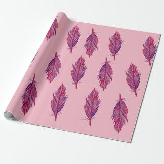 羽の水彩画の赤いピンクの包装紙 ラッピングペーパー