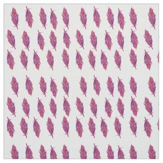 羽の赤いピンクの水彩画の生地 ファブリック