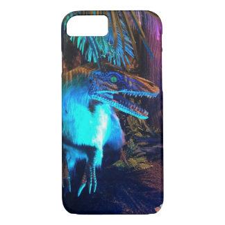 羽をつけられたヴェロキラプトルのネオンライトの写真の電話箱 iPhone 8/7ケース