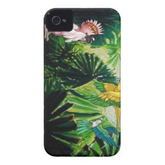 羽をつけられ、自由な雨林のブラックベリーの箱 Case-Mate iPhone 4 ケース