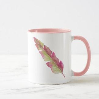 羽、ピンクおよび緑-マグ マグカップ