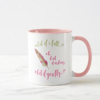羽-私がころべば何か。  -感動的なマグ マグカップ