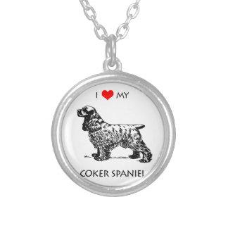 習慣I愛私のコッカースパニエル犬 シルバープレートネックレス