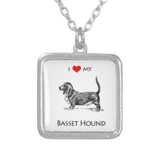 習慣I愛私のバセットハウンド犬 シルバープレートネックレス
