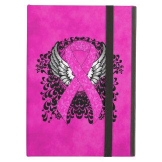 翼が付いているショッキングピンクのリボン iPad AIRケース