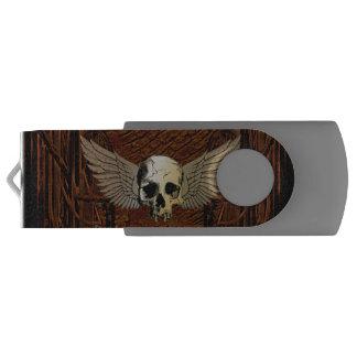 翼が付いているスカル USBフラッシュドライブ