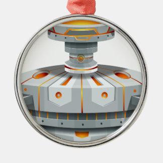 翼が付いている円形の宇宙船 メタルオーナメント