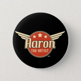 翼が付いている赤い円のレトロのアーロン 缶バッジ