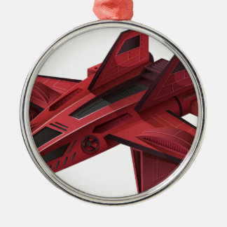 翼が付いている赤い宇宙船 メタルオーナメント