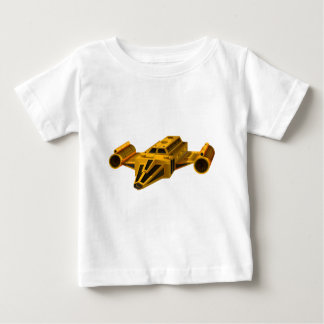 翼が付いている黄色い宇宙船 ベビーTシャツ