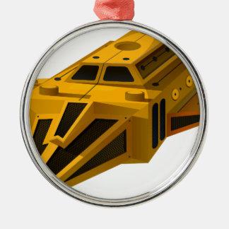 翼が付いている黄色い宇宙船 メタルオーナメント