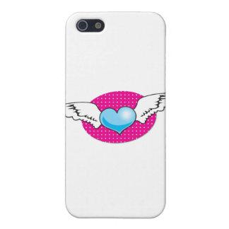 翼とのかわいくファンキーなロカビリーのハート iPhone SE/5/5sケース