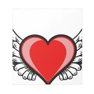 翼とのハート ノートパッド