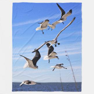 翼のフリースブランケットの海カモメ フリースブランケット