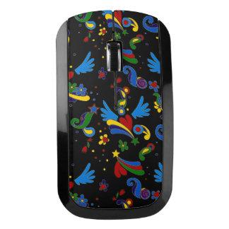 翼のポップアートのスタイルの黒パターンとのハート ワイヤレスマウス