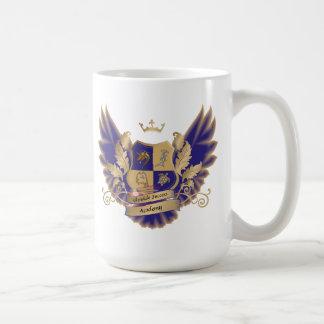 翼の青い金ゴールドのフクロウのマグが付いているGSAsの家の頂上 コーヒーマグカップ