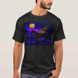翼を持つペガソスの金馬 Tシャツ