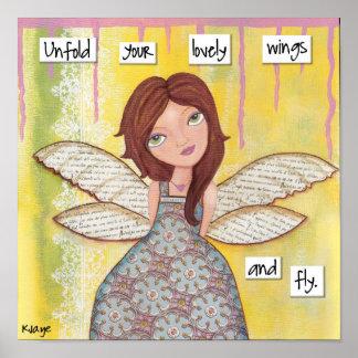 翼を持つ女の子-混合メディアのファインアート ポスター
