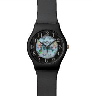 翼及びハローの単語の芸術の天使 腕時計