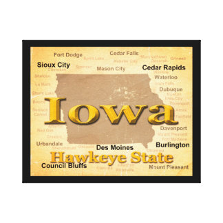 老化させたアイオワの州のプライドの地図のシルエット キャンバスプリント
