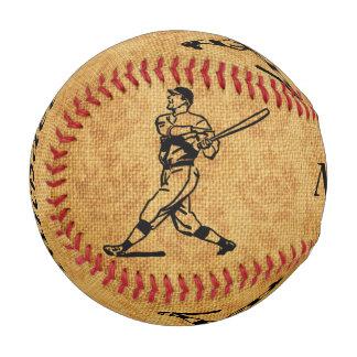 老化させたジュートの名前入りなヴィンテージの野球選手 ベースボール