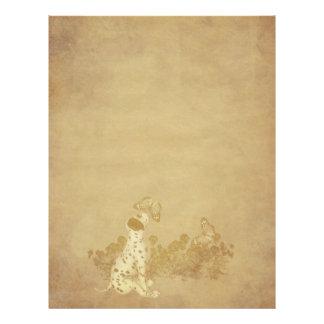 老化させたペーパー子犬の蝶スクラップブックの紙 レターヘッド