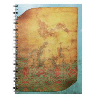 老化させたヴィンテージのグランジなカールされたページの羊皮紙 ノートブック