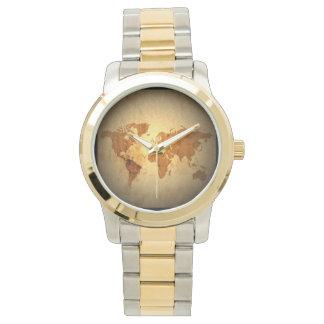 老化させた世界地図 腕時計
