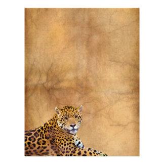 老化させた羊皮紙の効果の横たわるジャガーの大きな猫 レターヘッド