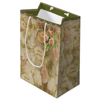 老化させた衰退したビクトリア時代の人は-誕生日-個人化なります上がりました ミディアムペーパーバッグ