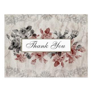 老化させた麻布のヴィンテージの花柄は郵便はがき感謝していしています ポストカード
