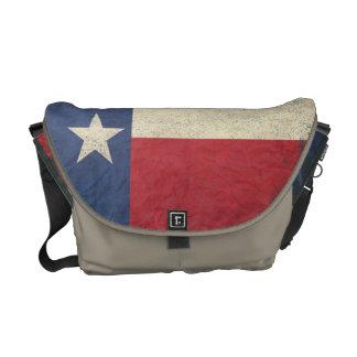 老化するテキサス州の旗 メッセンジャーバッグ
