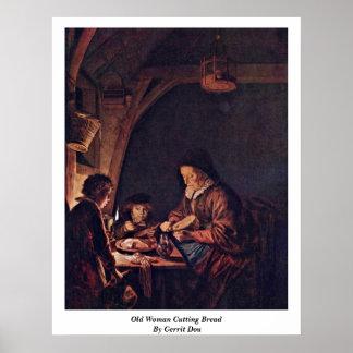 老女の切断のパン。 ゲリットドウ著 ポスター