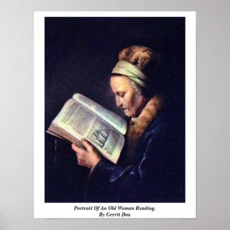老女の読書のポートレート。 ゲリットドウ著 ポスター