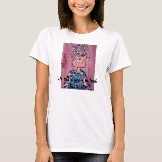 老婦人が付いているVelmaおもしろTシャツ Tシャツ