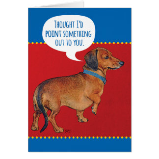 老齢期を指摘しているおもしろいなウインナー犬(ダックスフント) グリーティングカード