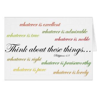 考えて下さいそのような事について… Philippiansの4:8 カード