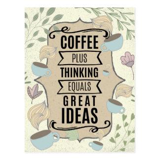 考えることとコーヒー=良い考えのコーヒー恋人 ポストカード